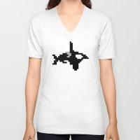 8 bit V-neck T-shirts featuring 8-bit Orca by Ria Pi