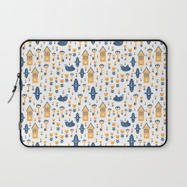 Scandi Houses Welcome Home with Birds and Botanical Smaller Pattern Laptop Sleeve