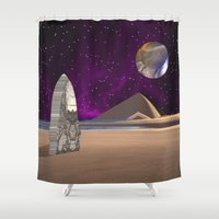 watchmen Shower Curtains featuring Purple light swirls round and round thinking thoughts that make no sound by Donuts