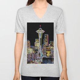 Dark be the Night - Luminous Seattle Skyline Unisex V-Neck