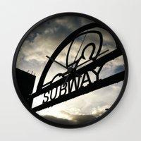subway Wall Clocks featuring Subway by Efua Boakye