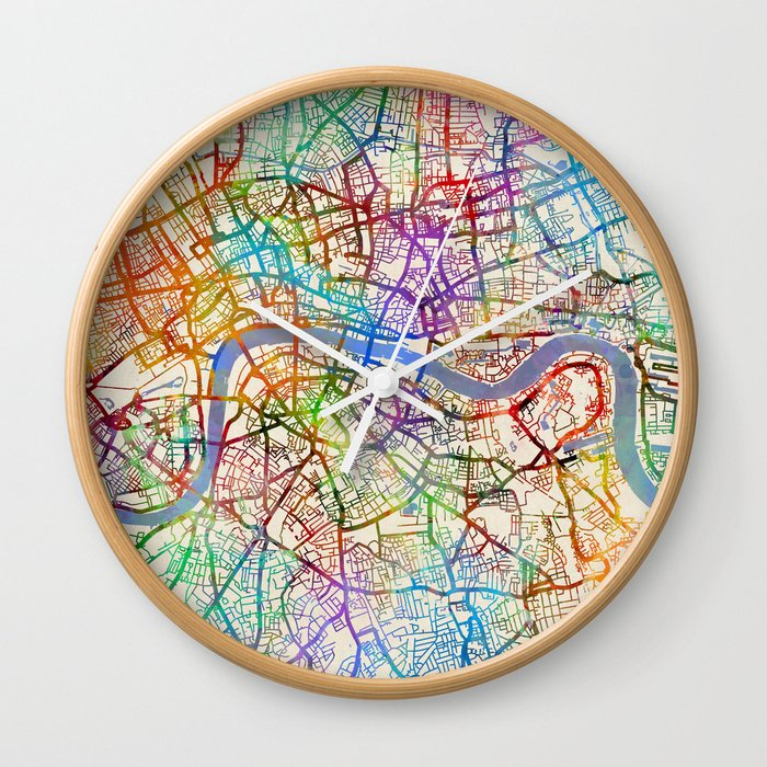 London England City Map.London England City Street Map Wall Clock By Artpause