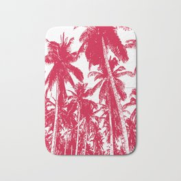 Palm Trees Design in Red and White Bath Mat
