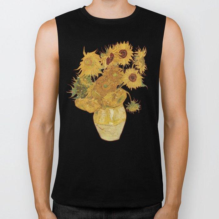 Sunflowers of Van Gogh Biker Tank