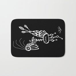 Dead Bird - White on Black Bath Mat