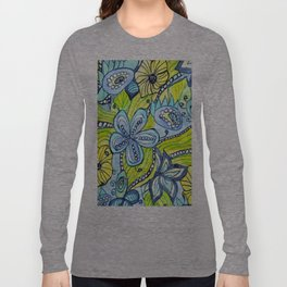 Turquoise, Yellow, and Green Floral Long Sleeve T-shirt