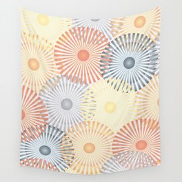 Vintage Geometric Floral Composition - Yellow, Orange & Gray Wall Tapestry