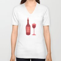 wine V-neck T-shirts featuring Wine by Cat Coquillette