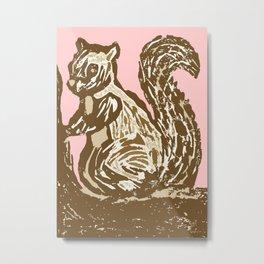 Brown and Pink Squirrel Metal Print