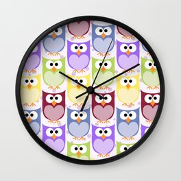 Colorful Owls - Green Blue Purple Yellow Wall Clock