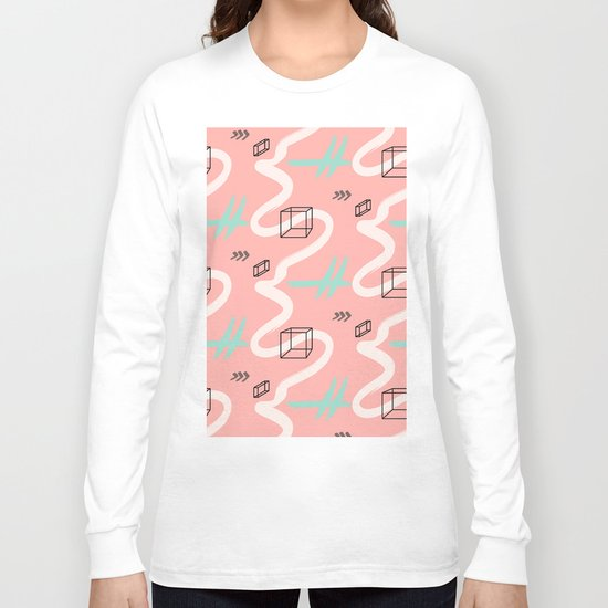 rectangles vs coral lines Long Sleeve T-shirt