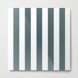 Stormcloud grey - solid color - white vertical lines pattern Metal Print