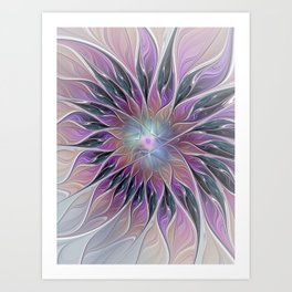 Fantasy Flower, Colorful Abstract Fractal Art Art Print
