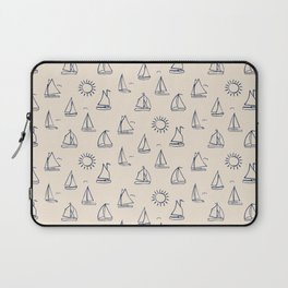 Sunny Sailboats Sketch on Cream Laptop Sleeve