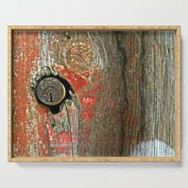 Weathered Wood Texture with Keyhole Serving Tray