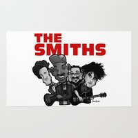 smiths Area & Throw Rugs featuring The Smiths (white version) by BinaryGod.com