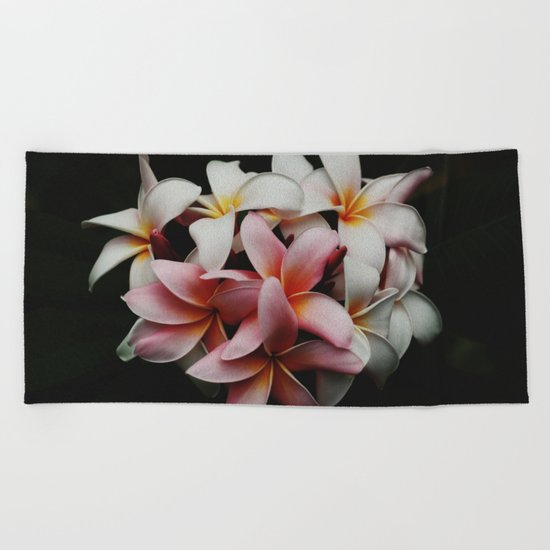 Flowers In The Dark Beach Towel