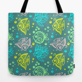 Fishes Batik Style Seamless Pattern Tote Bag