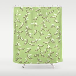 Gentle Green Leaves And Lianas Pattern Shower Curtain