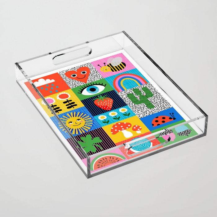 LYAAF - wacka art print, memphis art print, 80s, retro art print, 80s art print Acrylic Tray