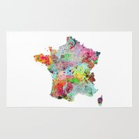 france Area & Throw Rugs featuring France map by Nicksman