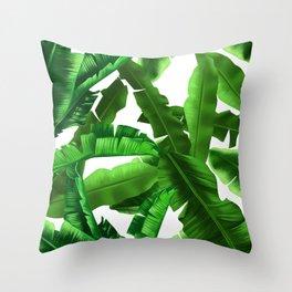 tropical banana leaves pattern Throw Pillow