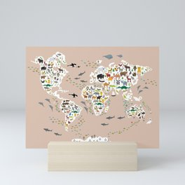 Cartoon animal world map, back to schhool. Animals from all over the world rosybrown background Mini Art Print