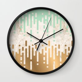 Marble and Geometric Diamond Drips, in Gold and Mint Wall Clock