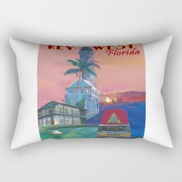 Key West Florida Southernmost Dreams Retro Travel Vintage Poster Rectangular Pillow