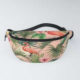 Pink flamingoes, tropical palm leaves, retro, Hollywood style,  Fanny Pack