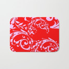ORNATE PINK SCROLLS ON CHINESE RED ART DESIGN Bath Mat