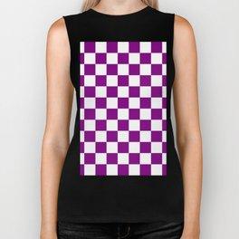 Checkered - White and Purple Violet Biker Tank