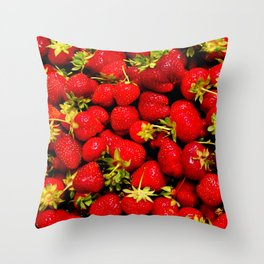 """Strawberries Galore features a large group of strawberries fresh from a """"you pick"""" fruit stand. Throw Pillow"""
