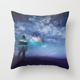 Constellation of the Dolphin by GEN Z Throw Pillow