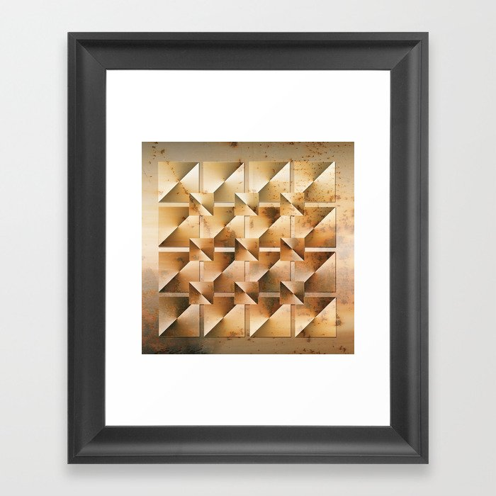 Rusty Geometry Gold Tones Framed Art Print