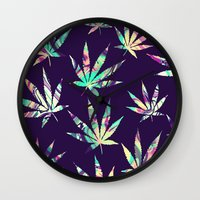 cannabis Wall Clocks featuring Merry Cannabis by GypsYonic
