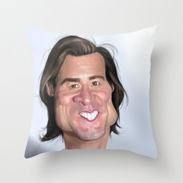 Jim Carrey Caricature art Throw Pillow