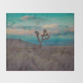 Joshua Tree Aqua Sunset Throw Blanket