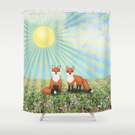 2 foxes Shower Curtain