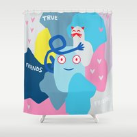 best friends Shower Curtains featuring Best Friends by KatrinDesign