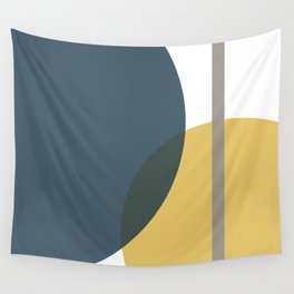 Geometric Abstraction 3 in Mustard, Navy, Gray, and White Wall Tapestry