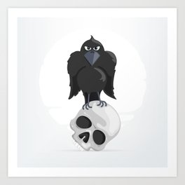 Raven Sitting on a Human Skull Art Print