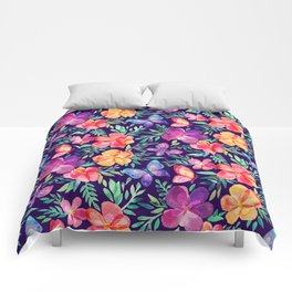 Summer Blooms & Butterflies on Dark Purple Comforters