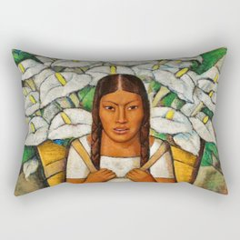 Young Guadalajara Flower Seller with Calla Lilies by Diego Rivera Rectangular Pillow
