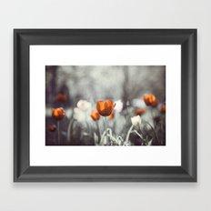 Orange Grey Tulip Photography, Burnt Orange Tulip Flowers Photo Framed Art Print