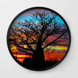 Candy Colour Sunset thru Boab Wall Clock