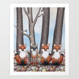 fox friends (with chickadees) Art Print