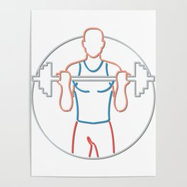 Athlete Lifting Barbell Neon Sign Poster