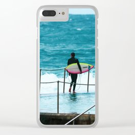 Surfer waiting for entry into the surf at Bronte Beach. Sydney. Australia. Clear iPhone Case