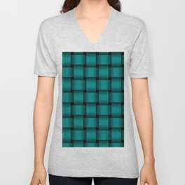 Large Dark Cyan Weave Unisex V-Neck